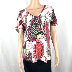 BOHO Kaktus Blouse TOP Embroidered Approx Size XL